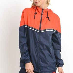 Jackets & Blazers - Contrast Detail Casual Hoodie Jacket
